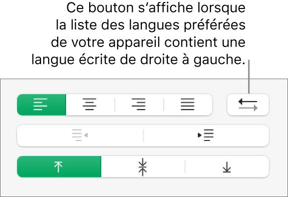 Le bouton «Direction du paragraphe» dans la section Alignement de la barre latérale Format.