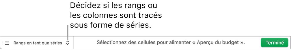 Menu local permettant de choisir de tracer les rangs ou les colonnes sous forme de séries.