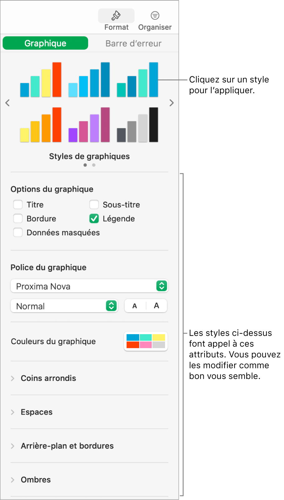 Barre latérale de formatage avec les commandes permettant de mettre en forme les graphiques.