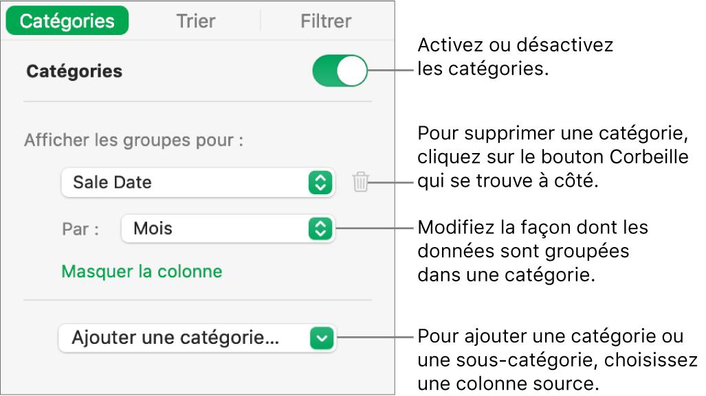 La barre latérale des catégories, avec des options permettant de désactiver les catégories, supprimer des catégories, regrouper des données, masquer une colonne source et ajouter des catégories.