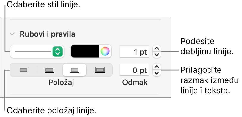 Kontrole za promjenu stila, debljine, položaja i boje linije.