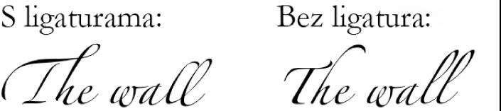 Primjeri teksta s ligaturama i bez njih.