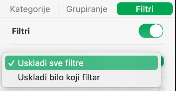 Skočni izbornik za odabir između prikaza redaka koji odgovaraju svim filtrima ili onih koji odgovaraju bilo kojem filtru.
