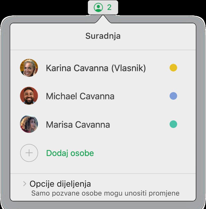Izbornik Suradnja prikazuje imena ljudi koji surađuju na tabličnom dokumentu. Opcije dijeljenja nalaze se ispod imena.