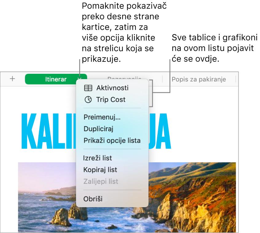 Kartica tabličnog dokumenta s otvorenim izbornikom prečaca i prikazom opcija, uključujući Dupliciraj.