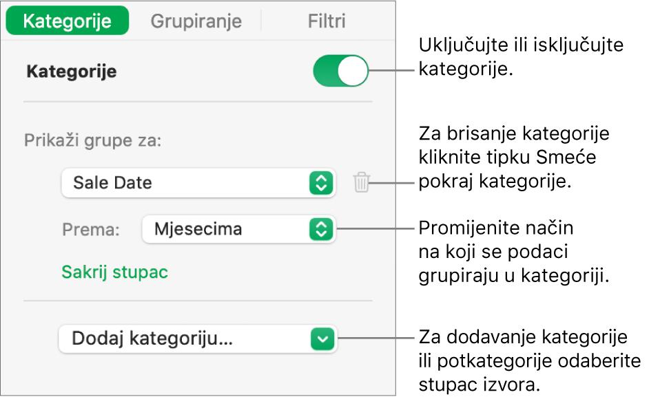 Rubni stupac kategorija s opcijama za isključivanje kategorija, brisanje kategorija, regrupiranje podataka, skrivanje izvorišnog stupca i dodavanje kategorija.