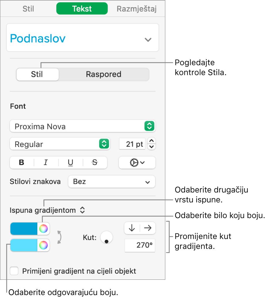 Rubni stupac teksta koji prikazuje kako promijeniti boju teksta.