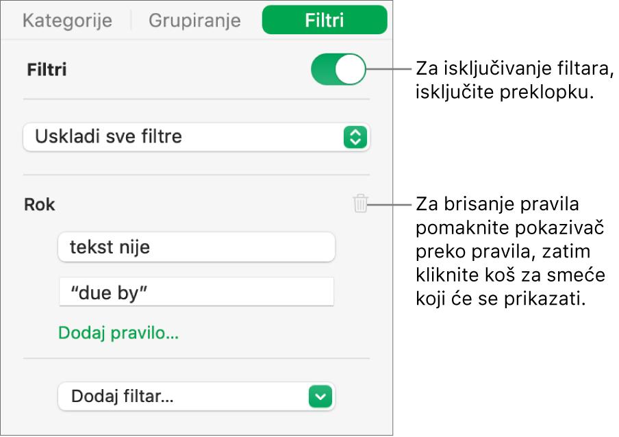 Kontrole za brisanje filtra ili isključivanje svih filtara.
