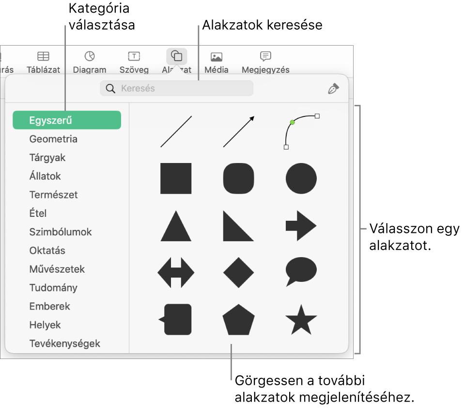 Az alakzatok könyvtára, amelynek bal oldalán a kategóriák láthatók, jobb oldalán pedig az alakzatok. A képernyő tetején lévő keresés mezőben alakzatokat kereshet, görgetéssel pedig további alakzatokat tekinthet meg.