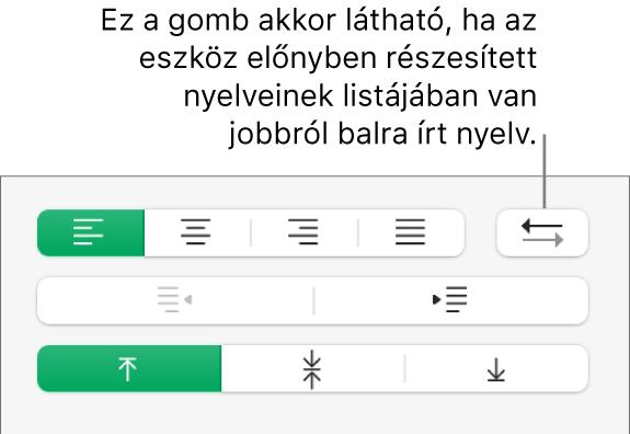 Bekezdésirány gomb a Formátum oldalsáv Igazítás szakaszában.