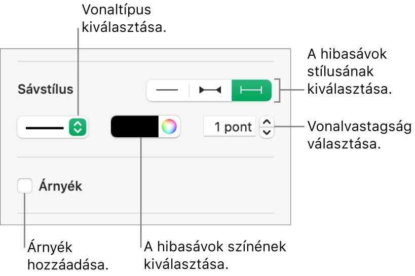 A táblázatszöveg stílusának beállítására szolgáló hibasávok.
