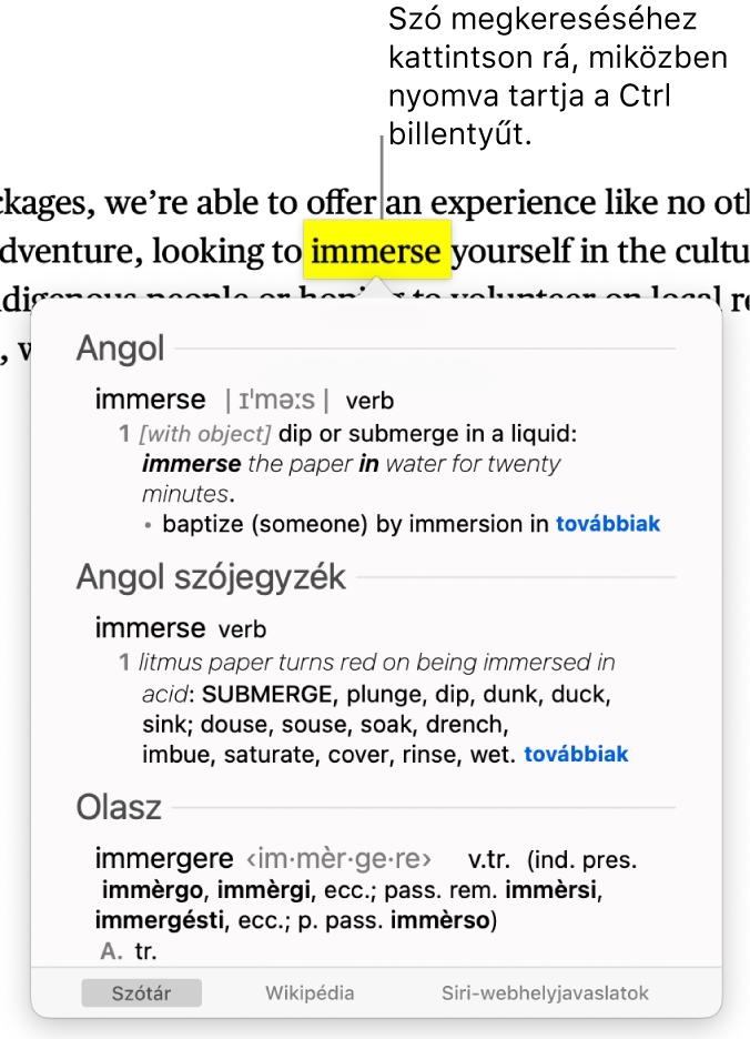 Szöveg, amelyben egy szó ki van emelve, és egy ablak, amely a definíciót és a Wikipédia-bejegyzést jeleníti meg. Az ablak alján található három gomb a szótárra, a Wikipédiára és a Siri javasolt webhelyeire mutató hivatkozásokat tartalmazza.