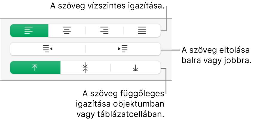 Az Igazítás szakasz a szöveg vízszintes és függőleges igazítására, illetve balra vagy jobbra mozgatására szolgáló gombokat jeleníti meg.