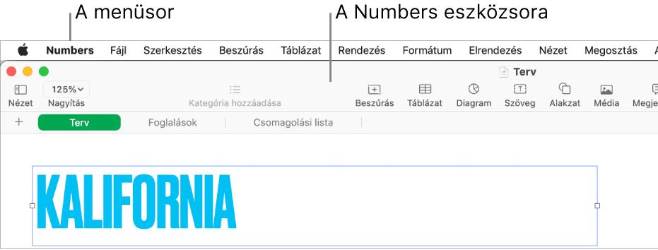 A menüsor a képernyő tetején az Apple, Numbers, Fájl, Szerkesztés, Beszúrás, Formátum, Elrendezés, Nézet, Megosztás és Súgó menükkel. A menüsor alatt egy megnyitott Numbers-táblázat látható az eszközsor következő gombjaival: Nézet, Nagyítás, Kategória hozzáadása, Beszúrás, Táblázat, Diagram, Szöveg, Alakzat, Média és Megjegyzés.