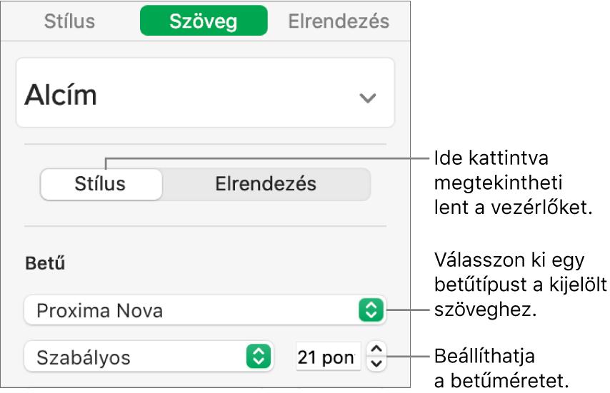 A betűtípus és betűméret beállítására szolgáló szövegvezérlők a Formátum oldalsáv Stílus szakaszában.