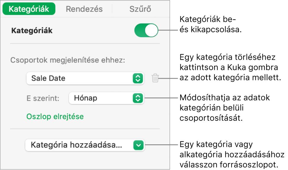 A kategóriák oldalsávja beállításokkal a kategóriák kikapcsolásához, a kategóriák törléséhez, az adatok átcsoportosításához, forrásoszlop elrejtéséhez és kategóriák hozzáadásához.