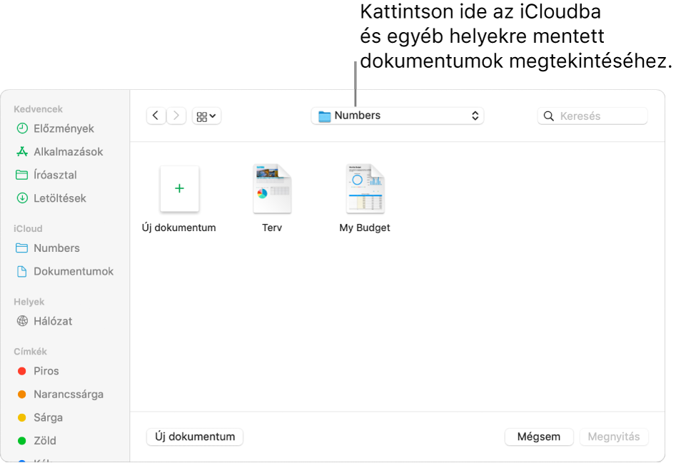 A Megnyitás párbeszédpanel megnyitott oldalsávval a bal oldalon és a felugró menüben kijelölt iCloud Drive-val a felső részen. A Keynote, a Numbers és a Pages mappái megjelennek a párbeszédpanelen az Új dokumentum gombbal együtt.