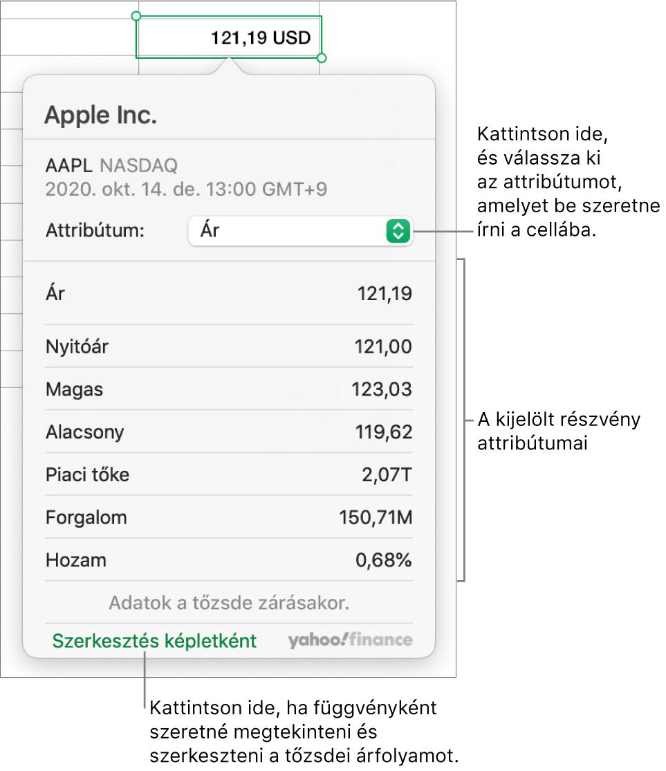 A részvényattribútumokra vonatkozó információk megadására szolgáló párbeszédpanel, amelyen az Apple részvény van kijelölve.