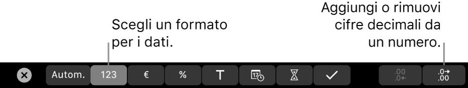 Touch Bar di MacBook con i controlli per scegliere un formato per i dati e per aggiungere o rimuovere le cifre decimali da un numero.