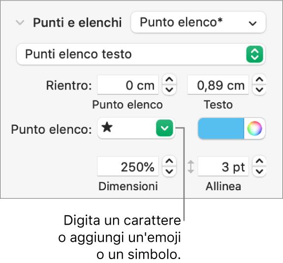 """La sezione """"Elenchi puntati"""" della barra laterale Formato. Nel campo """"Punto elenco"""" viene visualizzata l'emoji di una stella."""
