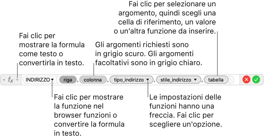 """""""Editor formule"""" con la funzione INDIRIZZO e i token degli argomenti corrispondenti."""