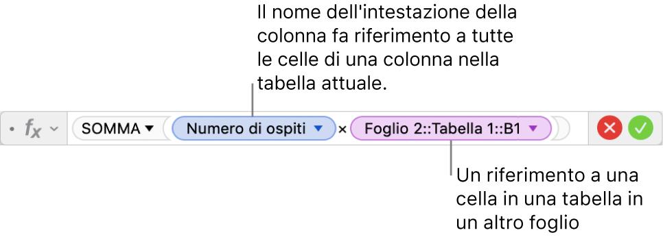 L'editor delle formule che mostra una formula che si riferisce alla colonna di una tabella e alla cella di un'altra tabella.