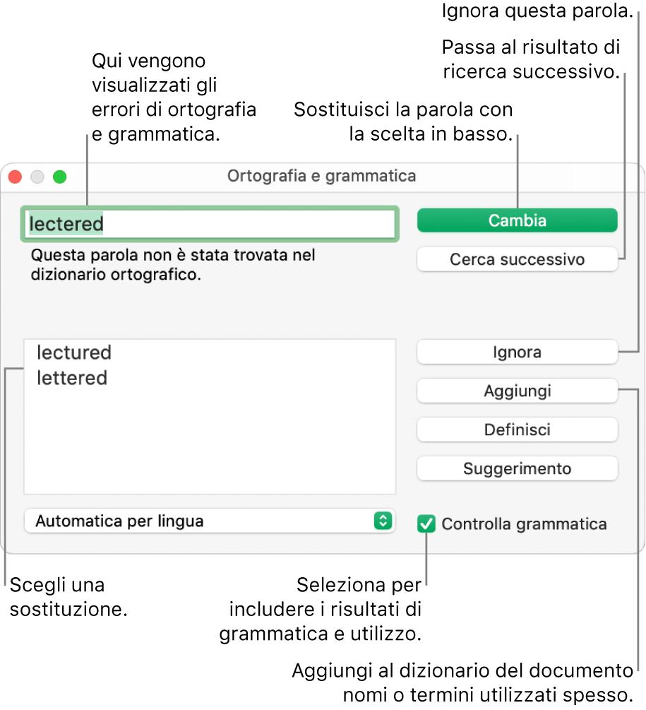 """Finestra """"Ortografia e grammatica""""."""
