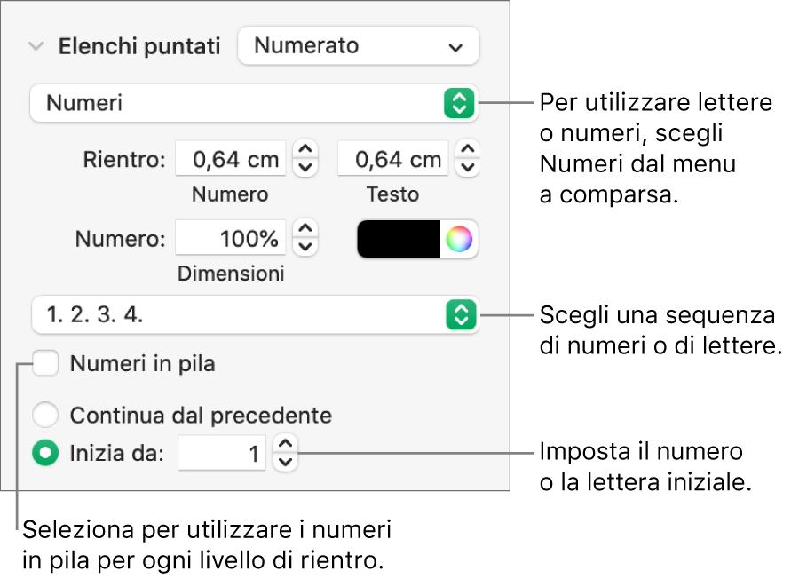 Controlli per modificare lo stile dei numeri e la spaziatura di un elenco.