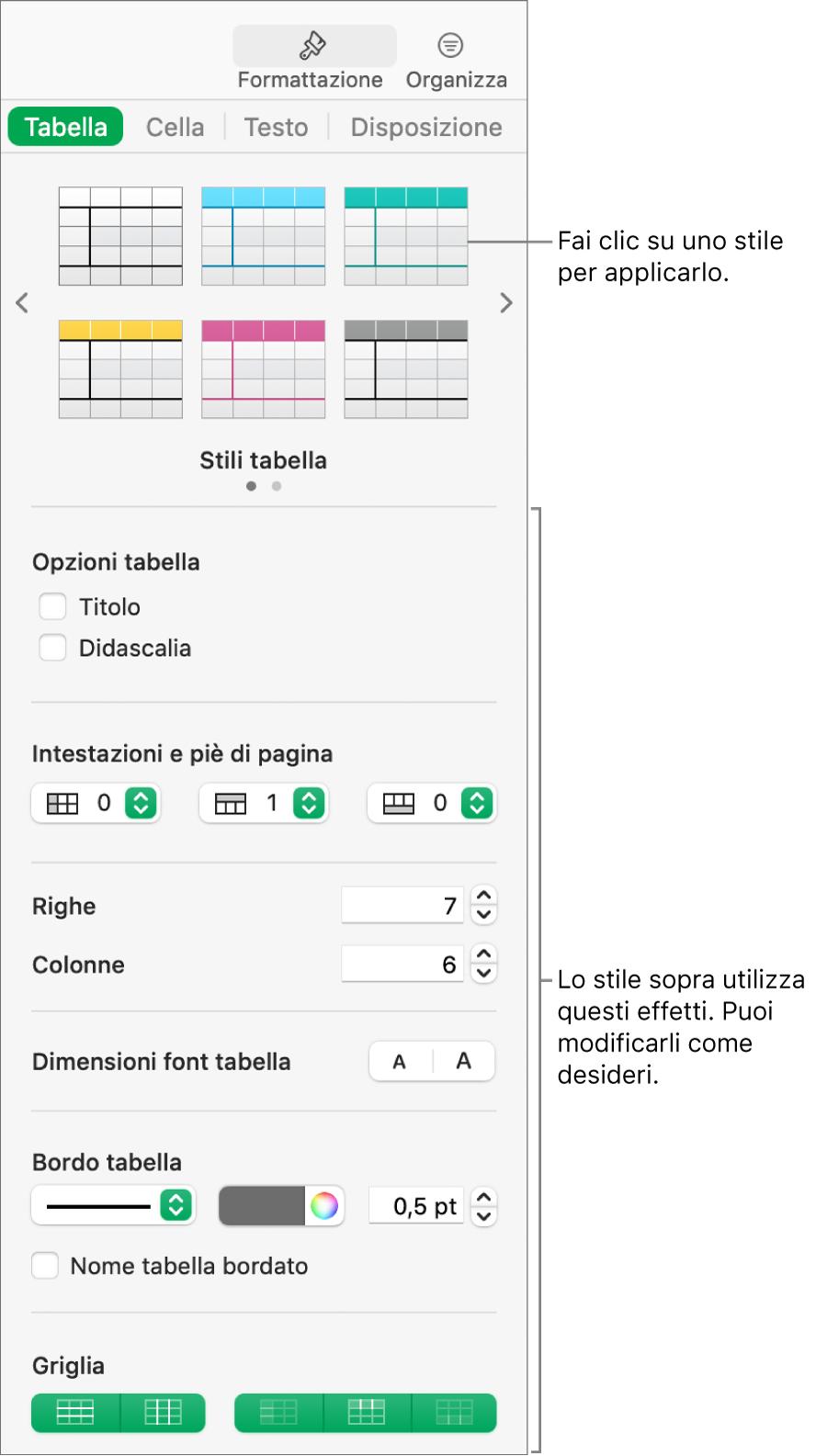 Barra laterale Formattazione con gli stili di tabella e le opzioni di formattazione.