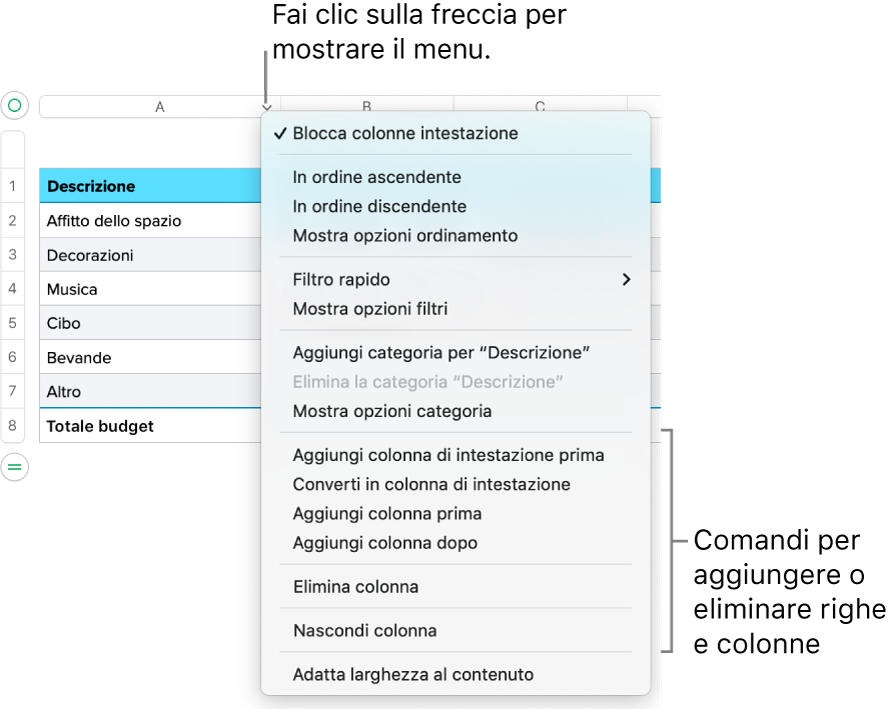 Menu della colonna della tabella con i comandi per aggiungere o eliminare righe e colonne.