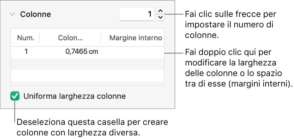 Controlli nella sezione Colonne per la modifica del numero di colonne e della larghezza di ogni colonna.