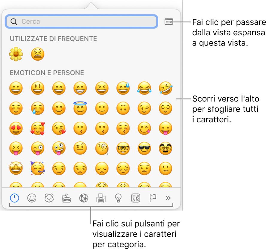 Finestra dei caratteri speciali con le emoticon, i pulsanti per i diversi tipi di simboli nella parte inferiore e la didascalia di un pulsante per mostrare l'intera finestra dei caratteri.