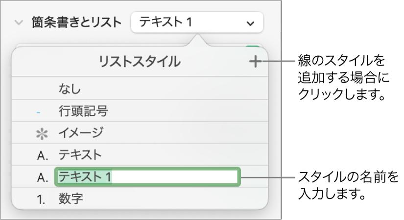「リストスタイル」ポップアップメニュー。右上隅に「追加」ボタンがあり、プレースホルダスタイル名はテキストが選択された状態。