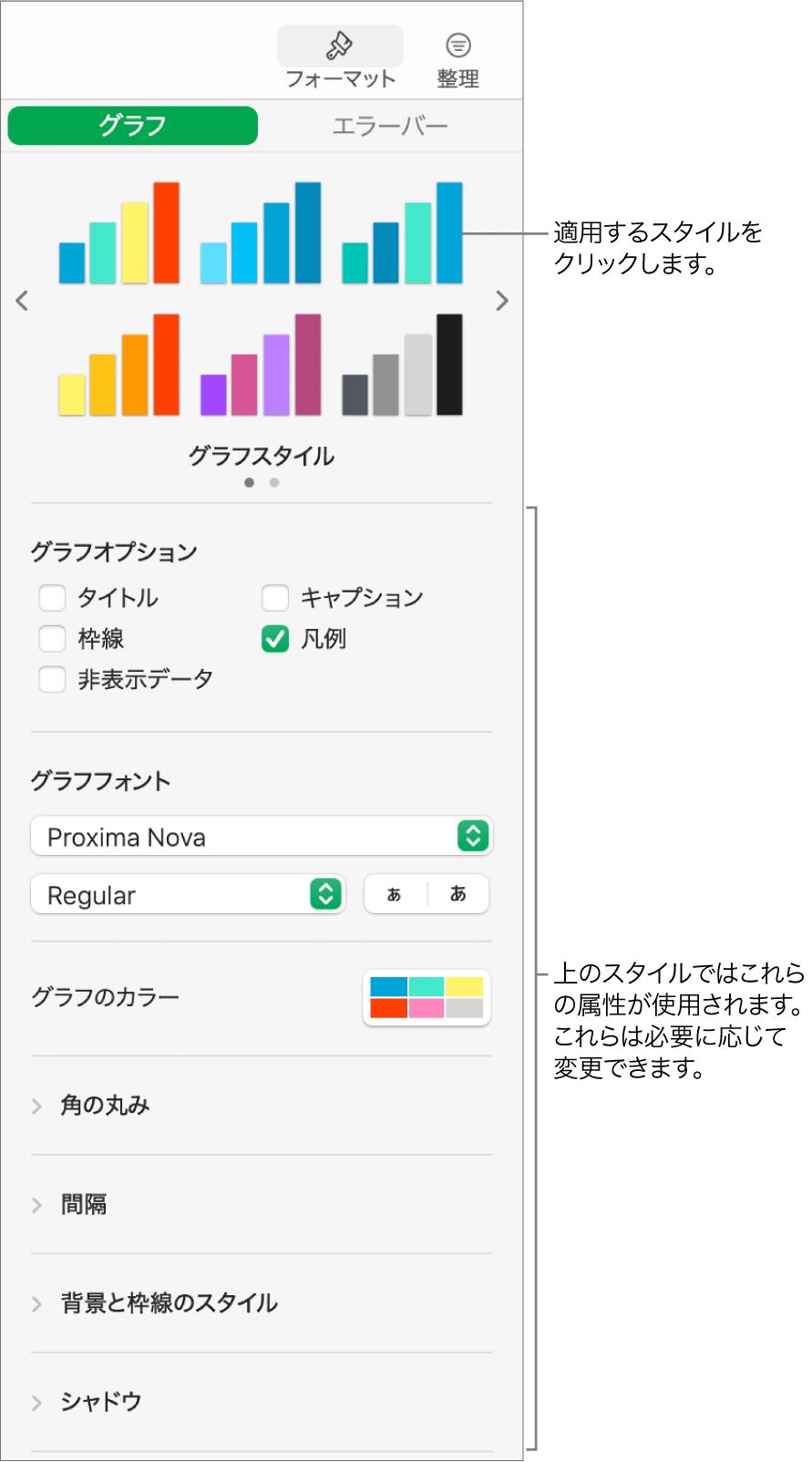 「フォーマット」サイドバー。グラフをフォーマットするためのコントロールが表示された状態。