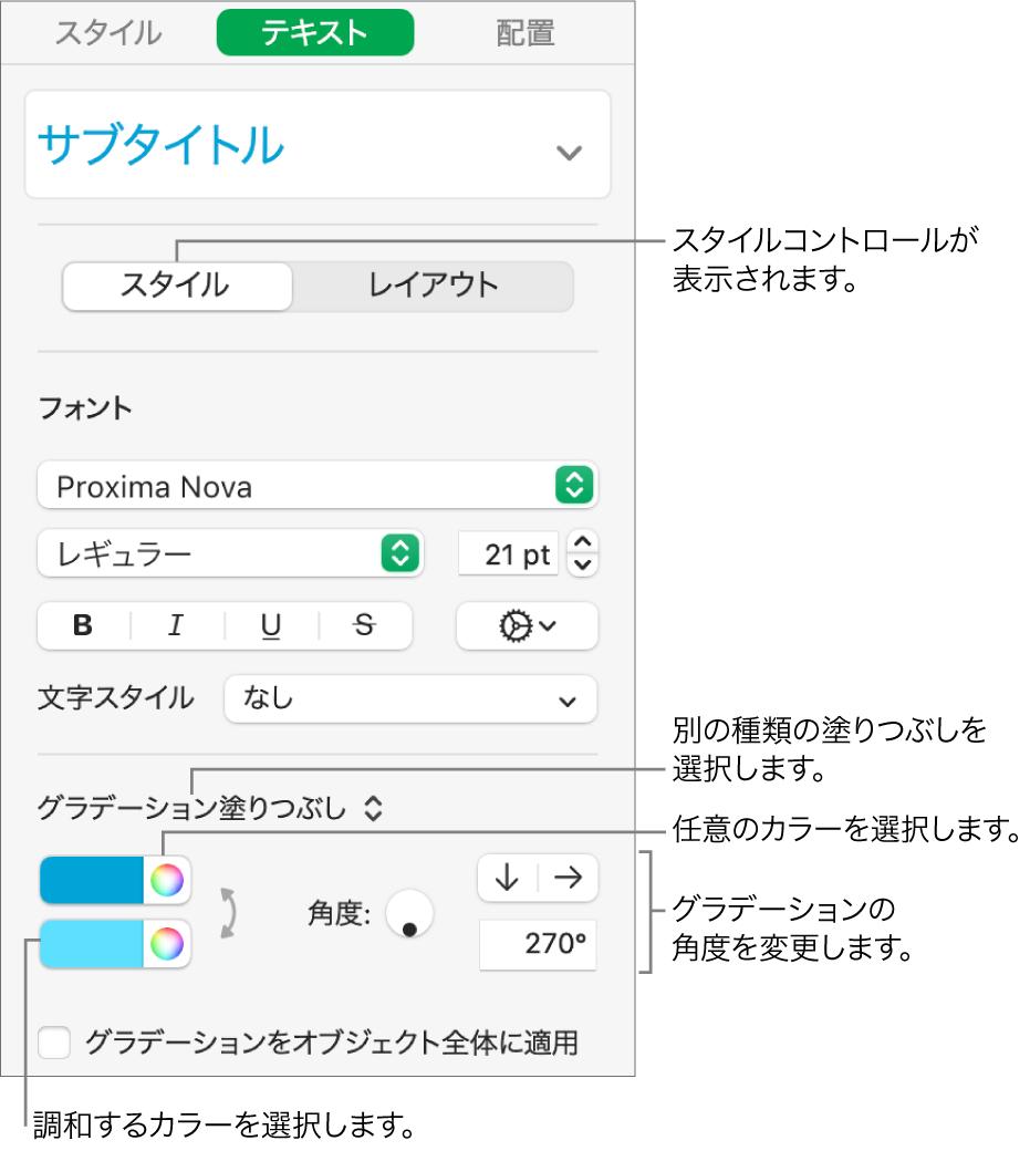 テキストのカラーを変更する方法が表示されているテキストサイドバー。