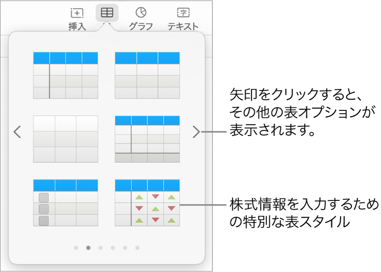 表スタイルが表示されている表メニュー。右下隅には株の情報を入力するための特殊なスタイルが表示されています。下に表示された6個のドットは、スワイプしてさらにスタイルを表示できることを表しています。