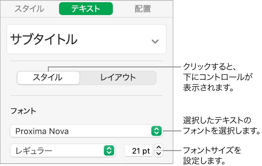 「フォーマット」サイドバーの「スタイル」セクションの、フォントとフォントサイズを設定するためのテキストコントロール。