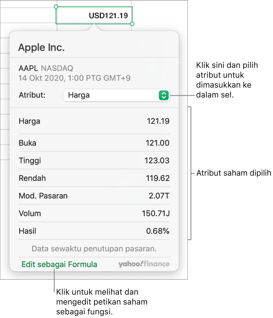 Dialog untuk memasukkan maklumat atribut saham, dengan Apple sebagai saham dipilih.