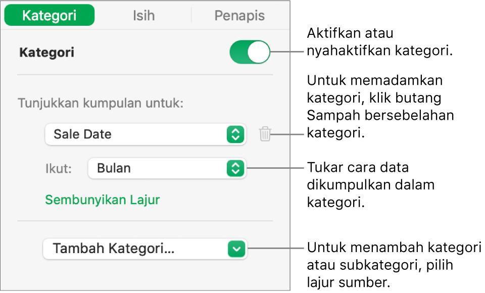 Bar sisi kategori dengan pilihan untuk menyahaktifkan kategori, memadam kategori, mengumpul semula data, menyembunyikan lajur sumber dan menambah kategori.