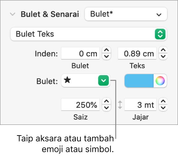 Bahagian Bulet & Senarai daripada bar sisi Format. Medan Bulet menunjukkan emoji bintang.