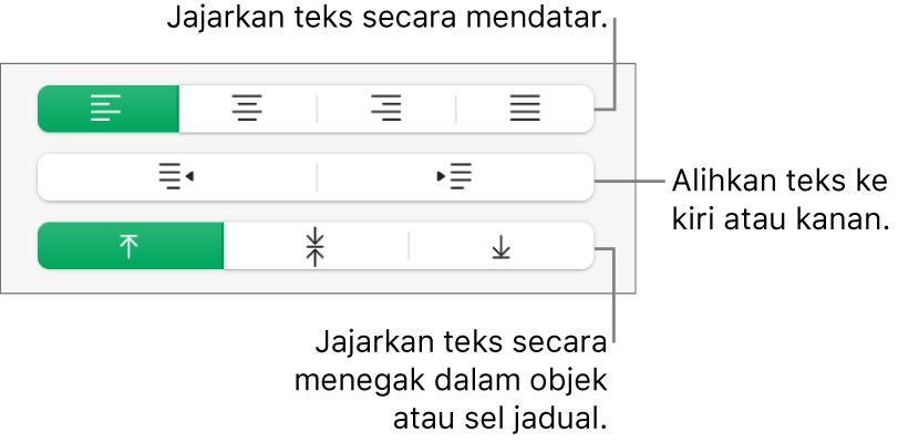 Bahagian Penjajaran pada bar sisi Format dengan petak bual ke butang penjajaran teks.