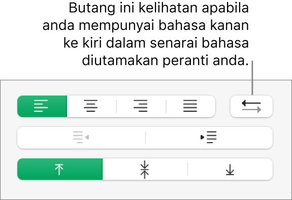 Butang Arah Perenggan dalam bahagian Penjajaran pada bar sisi Format.