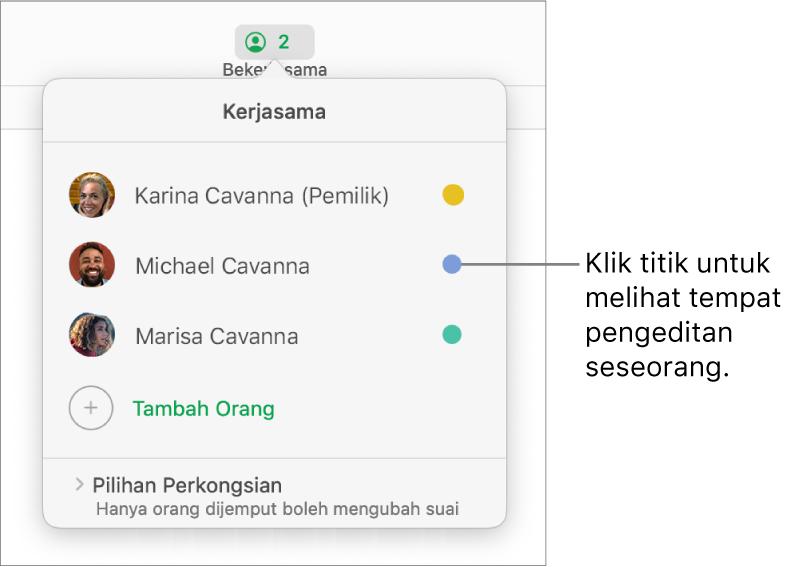 Senarai peserta dengan tiga peserta dan titik berlainan warna di sebelah kanan setiap nama.