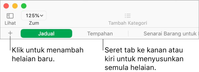 Bar tab untuk menambah helaian baru dan menyusun semula helaian.