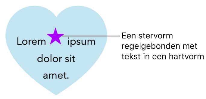 Een ster die regelgebonden is met tekst in een hart.