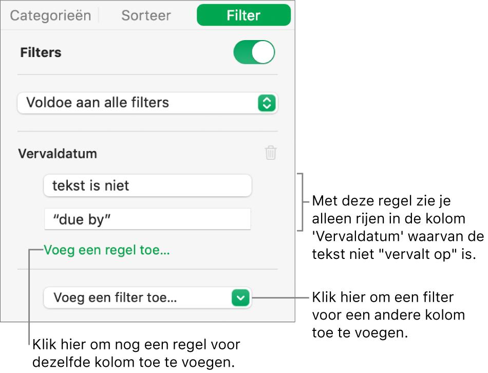Regelaars voor het aanmaken van filterregels.