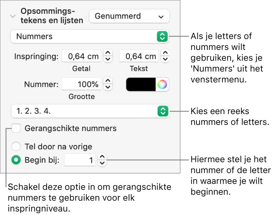 Regelaars voor het wijzigen van de nummeringsstijl en de afstand voor een lijst.
