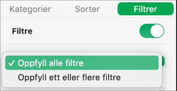 Lokalmenyen for å velge mellom å vise rader som samsvarer med alle filtre eller med ett filter.