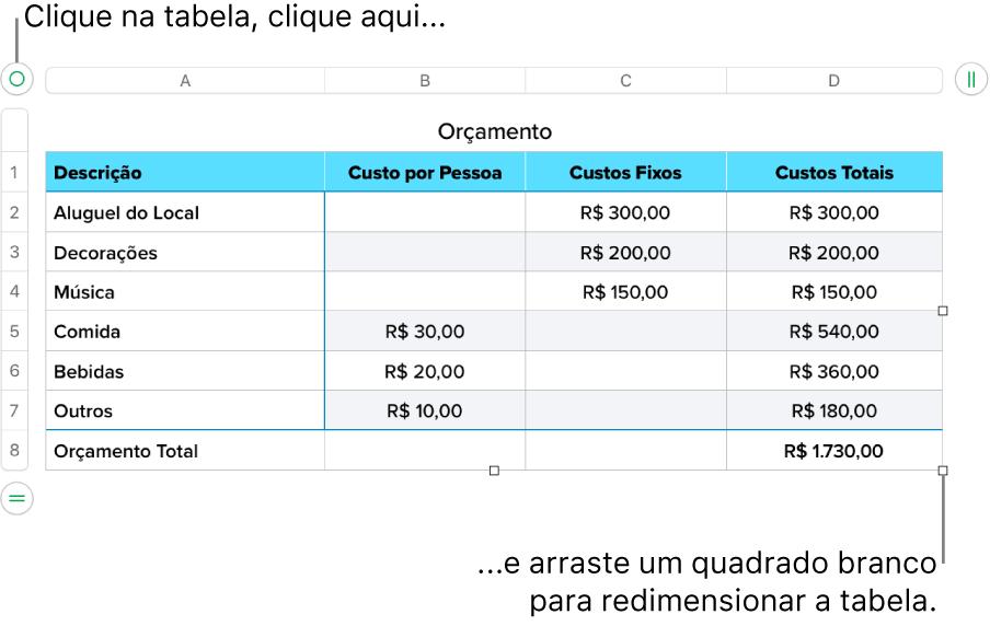 Tabela selecionada com quadrados brancos para redimensionamento.