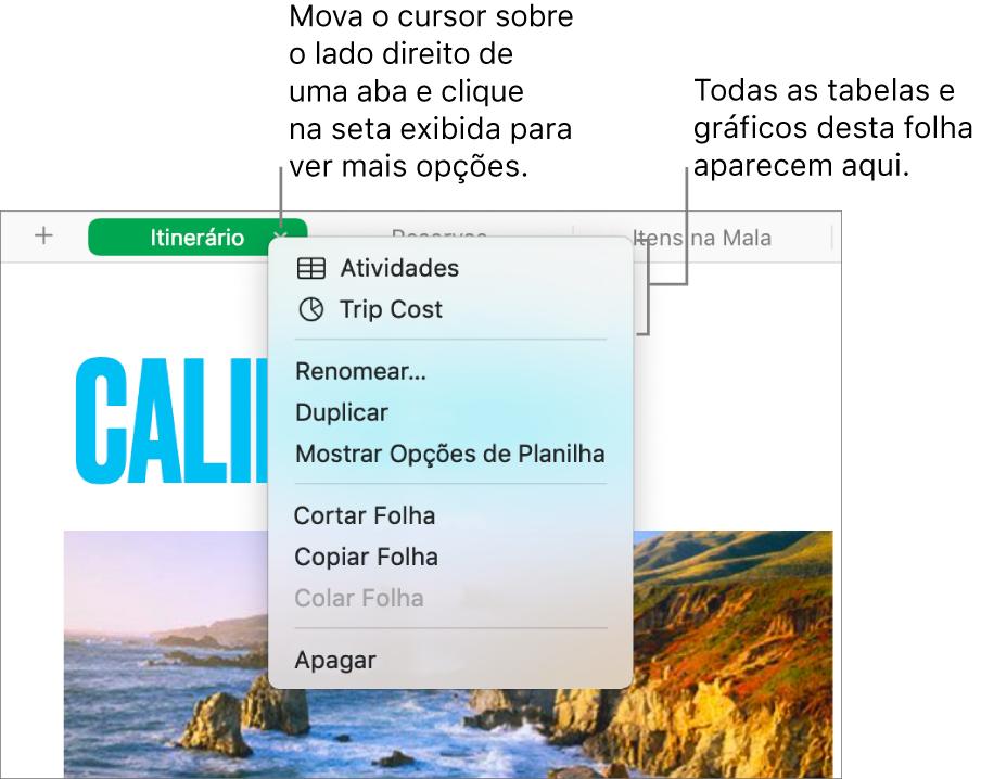 Uma aba de planilha com o menu de atalhos aberto mostrando opções, inclusive Duplicar.